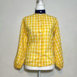 Vintage Deadstock Gingham Plaid Contrast Button Up